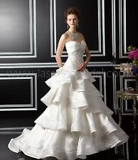 NEW! Jasmine Haute Couture T142061 Ivory taffeta tiered bridal gown Size 14