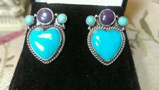 VINTAGE NAVAJO KINGMAN TURQUOISE SUGALITE HEART STERLING SILVER EARRINGS