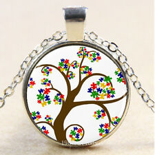 Photo Cabochon Glass Silver charms Pendant Necklace(Autism tree)