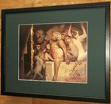 La giuria di scimmie da Gabriel MAX, 20''x16'' telaio, Scimmia Wall Art