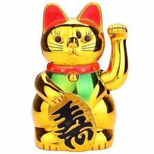 """6"""" Chinese Lucky Good Luck Wealth Golden Waving Hand Paw Up Fortune Kitty Cat"""