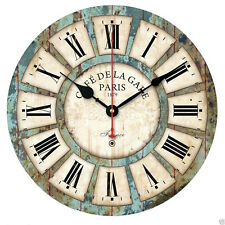 Vintage Creative Round Wood Quartz Wall Clock Home Office Decor European Style