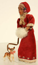 Victorian Lady with Red Dress and White Muff Walking Her Dog Miniature Doll
