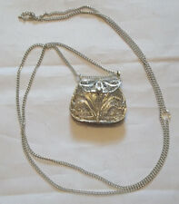 Silver Plated Filigree Square Shaped Purse Necklace  NEW Mtn Man/Colonial/Crafts