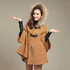 New Women Faux Fur Trim Hooded Poncho Cape Coat Ladies Shawl Duffle Jacket Cloak