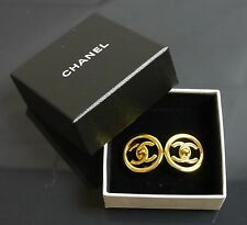 Auth Chanel earrings gold turn lock unused (2336QE