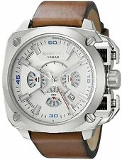NEW Diesel DZ7357 BAMF Mens Silver Dial Analog Brown Leather Quartz Watch