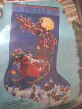 """Bucilla Christmas Needlepoint Stocking Kit,TO ALL A GOODNIGHT,Rossi,18"""",60708"""
