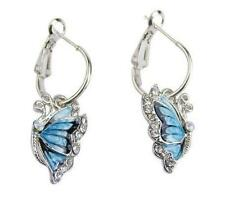 New Dangle Hot Blue Butterfly and Crystal Silver Plated Hoop Earrings