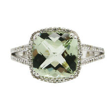 14K WHITE GOLD PAVE DIAMOND CUSHION GREEN AMETHYST COCKTAIL ENGAGEMENT HALO RING