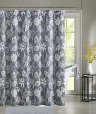 Felice Gray Floral Flowers White Fabric Shower Curtain Victoria Classics