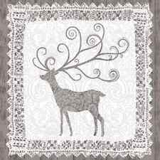 Christmas 20 Paper Lunch Napkins NORDIC DEER Natural Christmas Winter Snow Xmas