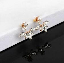 Pair ear jacket earrings clear gem gold silver rose gold 2 NEW jewelry