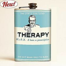THERAPY drinking FLASK I have a prescription I have brain cells Retro-a-go-go  *
