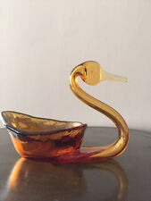 Vintage Swan Blown glass Figure Hand made Brown