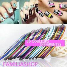 30 couleurs différentes striping tape fils autocollant sticker nail art ongles