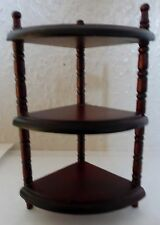 DOLLS HOUSE MINIATURE MAHOGANY 3 TIER WOODEN CORNER RACK SHELF