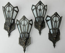 4 Antique Vintage Art Deco Wall Sconce Light Fixtures Glass Metal 1923
