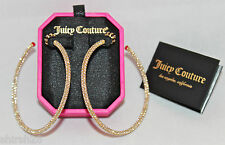 Juicy Couture Yellow Gold Pave Hoop Earrings Rhinestone Crystal #5992