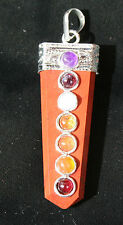 Tibetan Silver, Red Jasper & Multi Crystal All Chakra Pendant Reiki Blessed +Bag