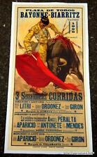 RARE AFFICHE DE CORRIDA   PLAZA DE TOROS BAYONNE-BIARRITZ   SAISON  1956