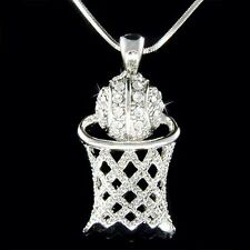 w Swarovski Crystal ~Basketball Hoop Net~ Sports Pendant Charm Necklace Jewelry