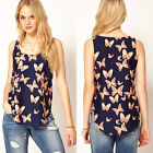 Sexy Women Lady Butterfly Print Tank Top Vest Chiffon Blouse Sleeveless T-Shirt
