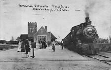SCOTT #405 JUMBO GRAND TRUNK STATION LANSING MICHIGAN TRAIN DEPOT POSTCARD 1912