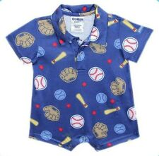 Oshkosh B'gosh Printed Collar Romper (Blue Baseball Equipment) Size New Born