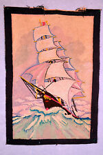 Antique Hand Hooked Rug - 3.5' x 2.4' - Sail Boat in Sea - 1940's