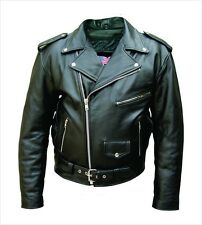 Men's Black Genuine Cowhide Solid Leather Motorcycle Biker Jacket. Sizes 40 -60