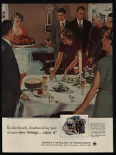 1952 THANKSGIVING Dinner Art By DOUGLAS CROCKWELL - BEER - VINTAGE AD