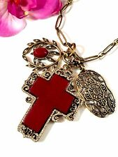 FAB LUCKY BRAND CHAIN LINK NECKLACE RED AGATE STONE RHINESTONE CROSS PENDANT