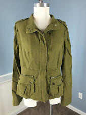 Ann Taylor Olive Green Linen Cotton 8 Field Jacket casual Excellent light weight