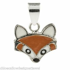 1x 925 Small Sterling Silver + Enamel Fox Pendant for Necklace + Gift Bag