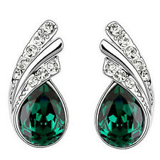 Emerald Green Crystal Angel Wings Silver Studs Earrings Rhinestones E953