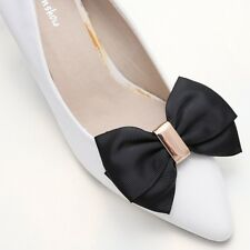 Simple Elegant Woman Ladies Black Ribbon Bow Gold Tone Shoe Clips Decoration