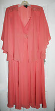 SL Fashions 3140 Womens Peach Chiffon Beaded Dress With Jacket 12 NWT