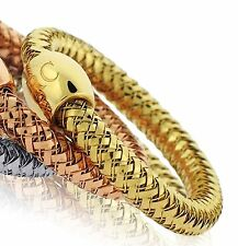 $400 Roberto Coin 6.5 to 6.75 18K Y Gold Primavera Woven Mesh Stretch Ring Lady