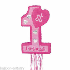 55cm Pink Girl Happy 1st Birthday Number 1 Pull String Pinata Party Game