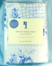 Pottery Barn French Rose Sham Blue & White Cabbage Roses Gingham Euro Square NWT