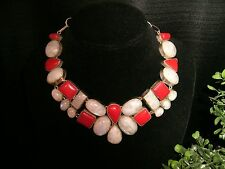 necklace red coral grey moonstone Silver plate Cleopatra cluster bib adjustable