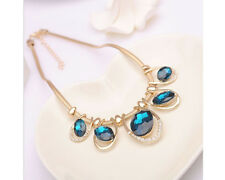 Glitz Fashion Gold Plated Bule  Rhinestone Crystal Elliptical Statement Necklace