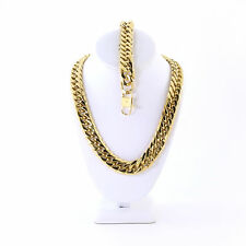 SOLID 14K GOLD FINISH THICK HEAVY MIAMI CUBAN LINK CHAIN & BRACELET 18MM JayZ