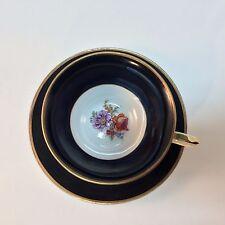 Black Teacup Pedestal Saucer Gilt Rose Primrose Made in Germany with Crown stamp