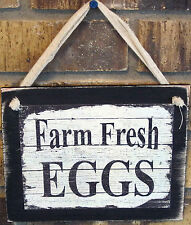 Farm Fresh Eggs Wooden Hanging Sign Plaque Country Primitive Rustic Lodge Cabin
