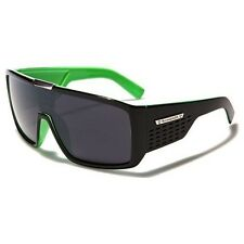 Biohazard Goggle Style Green Mens Designer Sunglasses Metal Detail on Center