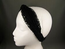 "Black crochet turban twist headband stretch scrunch fabric 1.75"" wide turband"