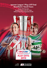 PLAY OFF FINAL 2013 LEAGUE 1 ONE BRENTFORD v YEOVIL MINT PROGRAMME