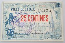 Billet de Nécessité Leuze 25 centimes Hainaut 14-18 Noodgeld